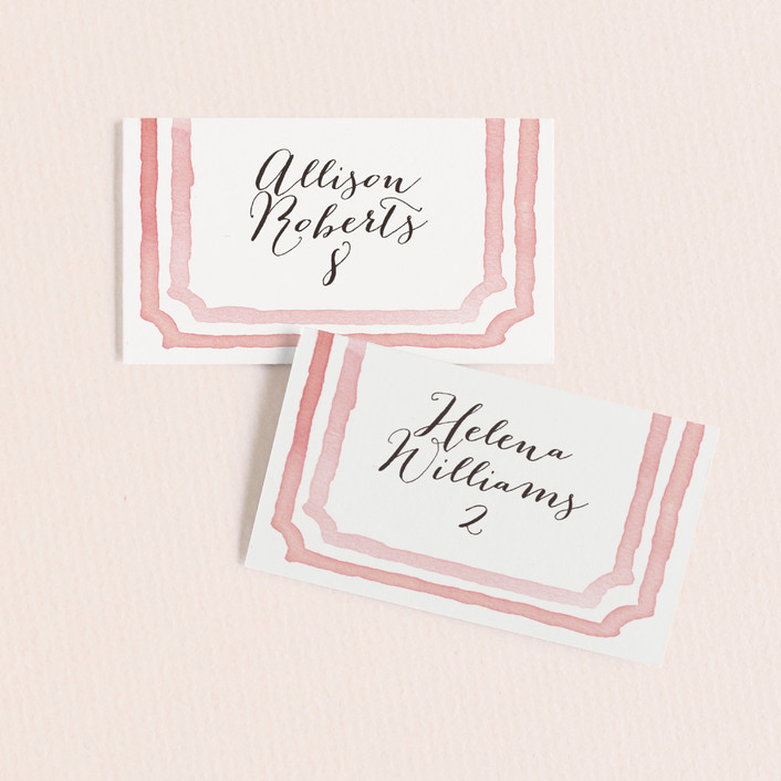 """""""Watercolor Frame"""" - Modern Wedding Place Cards in Coral by Laura Condouris."""