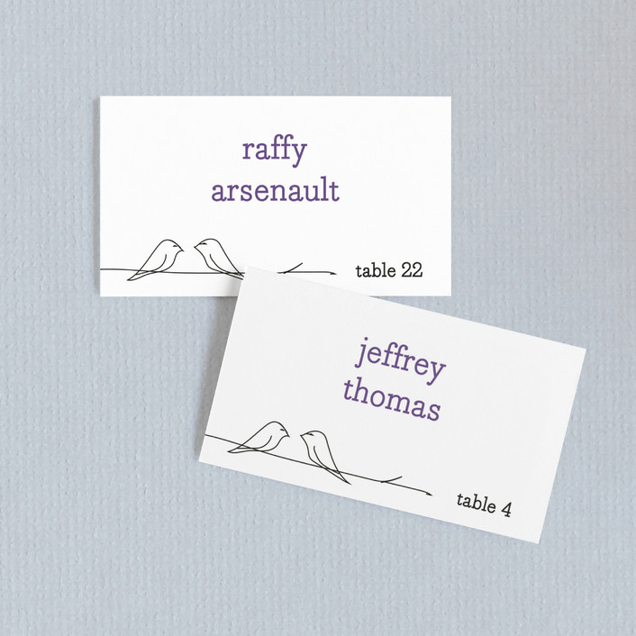 """Birds of a Feather"" - Whimsical & Funny Wedding Place Cards in Plum by R studio."