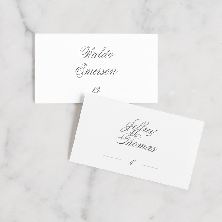 """""""Classical"""" - Wedding Place Cards in Taupe by Jessica Williams."""