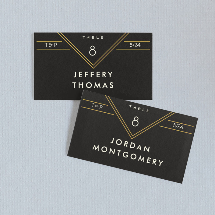 """Empire"" - Wedding Place Cards in Midnight by GeekInk Design."