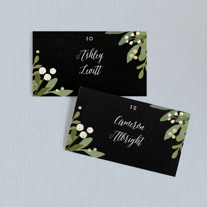 """""""Laurel of Greens"""" - Wedding Place Cards in Midnight by Jennifer Wick."""