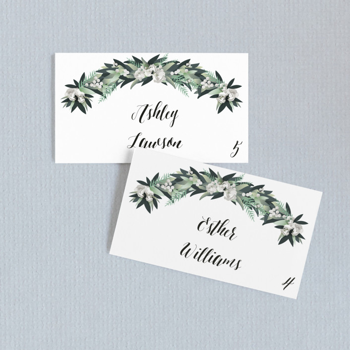 """Wall Flower"" - Wedding Place Cards in Greenery by Jennifer Postorino."