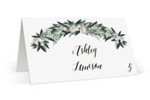 This is a green wedding place card by Jennifer Postorino called Wall Flower with standard printing on signature in placecard.