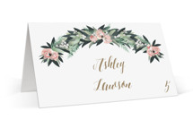This is a pink wedding place card by Jennifer Postorino called Wall Flower with standard printing on signature in placecard.