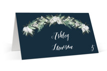 This is a blue wedding place card by Jennifer Postorino called Wall Flower with standard printing on signature in placecard.