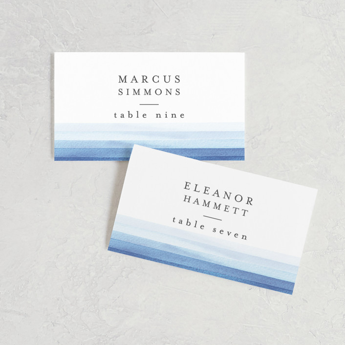 """Watercolour Stripe"" - Wedding Place Cards in Azure by Bethan."