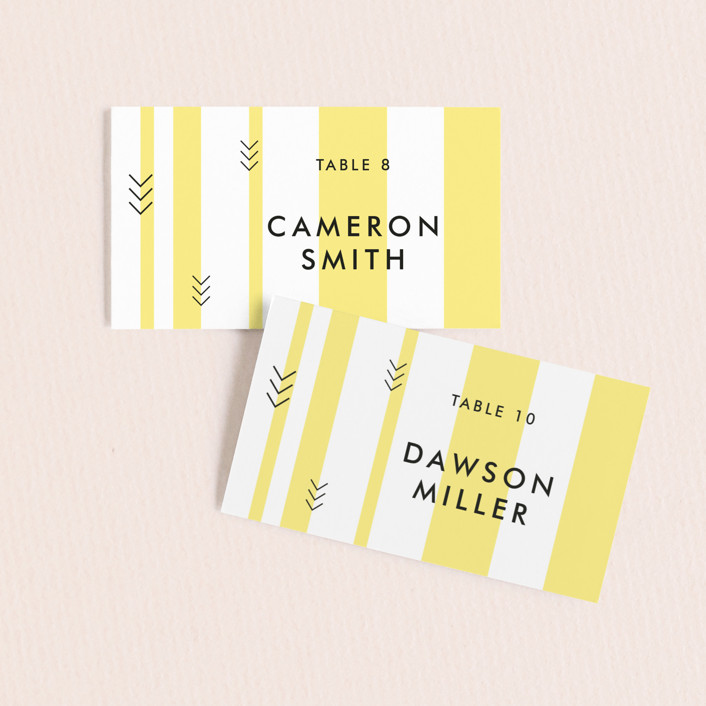 """Direction"" - Modern Wedding Place Cards in Lemon by Owl and Toad."