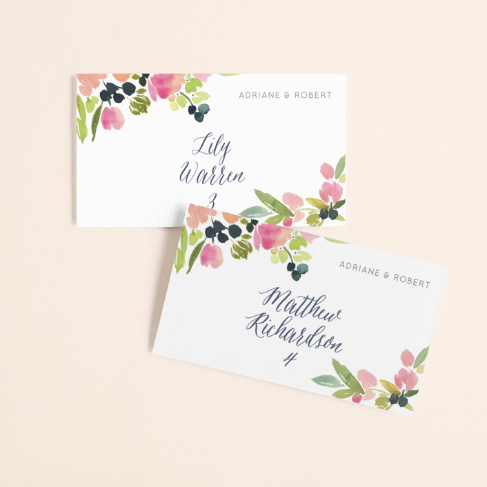 """""""Watercolor Wreath"""" - Wedding Place Cards in Grapefruit by Yao Cheng Design."""