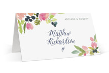 This is a pink wedding place card by Yao Cheng Design called Watercolor Wreath with standard printing on signature in placecard.
