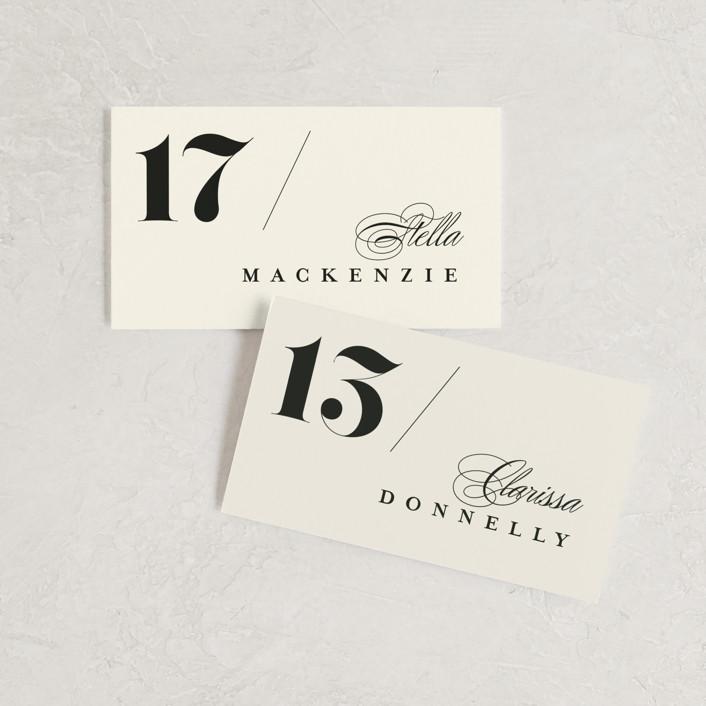 """Big Date"" - Wedding Place Cards in Ivory by Anastasia Makarova."