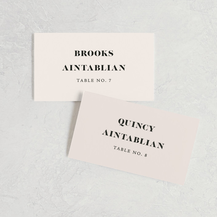"""Finally"" - Funny Wedding Place Cards in Ivory by Up Up Creative."