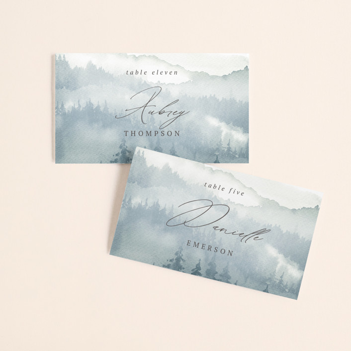 """""""Over the mountains"""" - Rustic Wedding Place Cards in Fog by Helen Halik."""