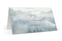 This is a blue wedding place card by Helen Halik called Over the mountains with standard printing on signature in placecard.
