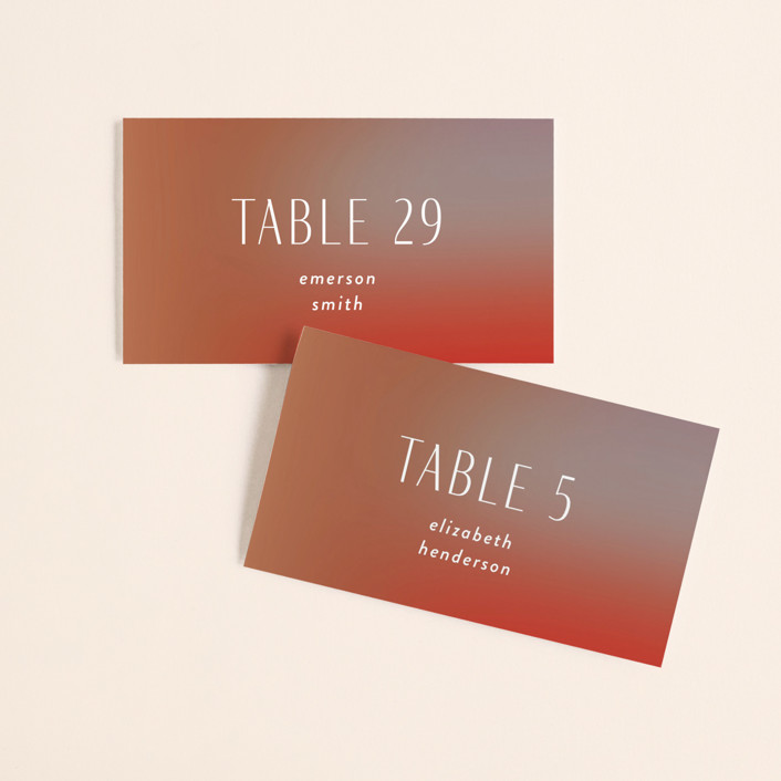 """""""Retro Grid"""" - Modern Wedding Place Cards in Sunset by Simona Camp."""