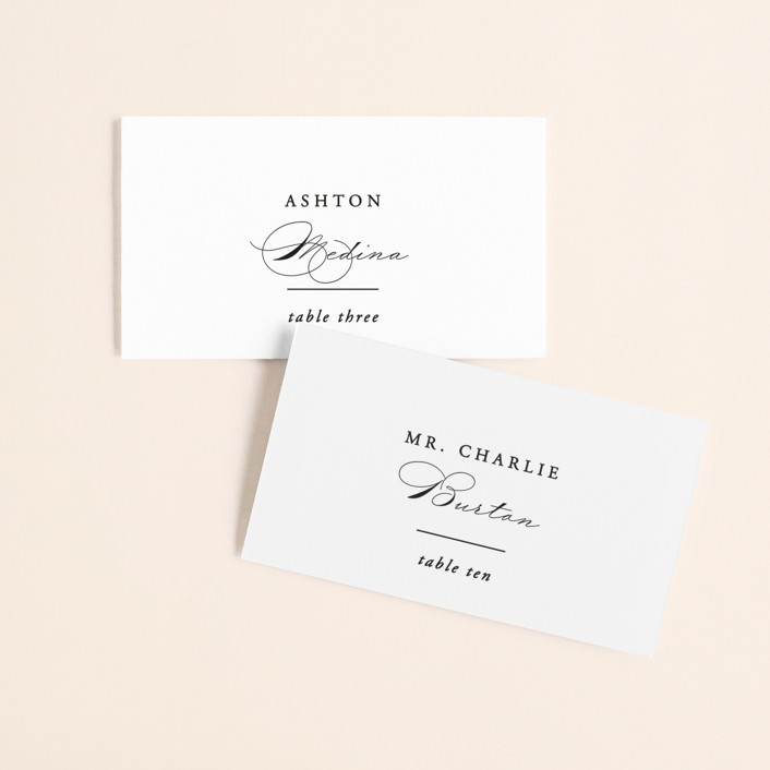 """""""Together With You"""" - Wedding Place Cards in Noir by Kimberly FitzSimons."""