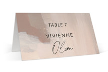 This is a brown wedding place card by Lindsay Megahed called Gallery with standard printing on signature in placecard.
