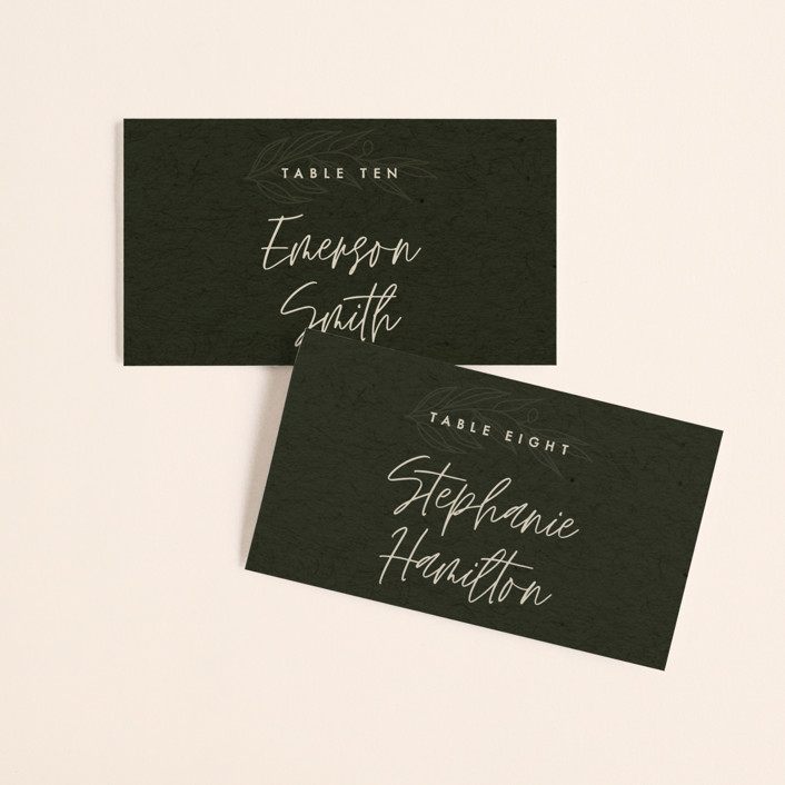 """""""delicate seal"""" - Bohemian, Modern Wedding Place Cards in Olive by Lindsay Stetson Thompson."""