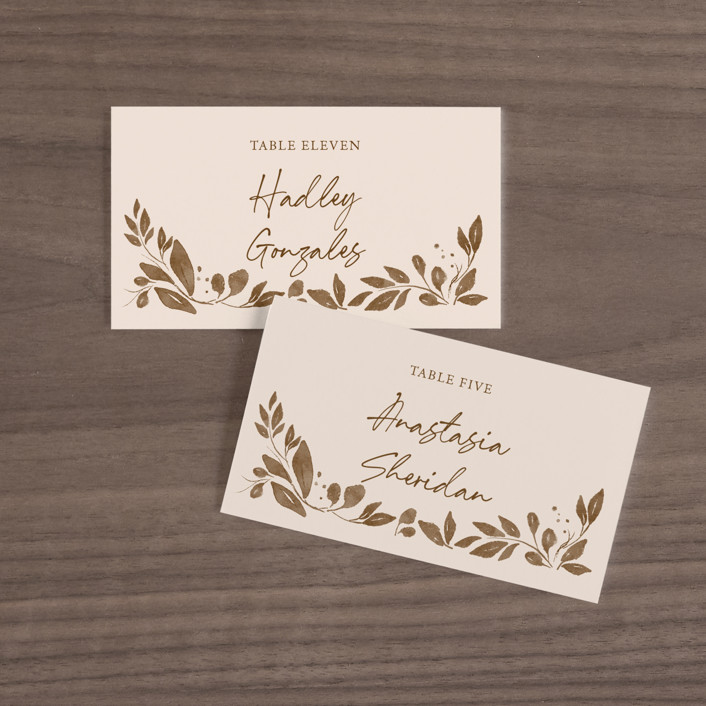"""""""Painterly Florals"""" - Wedding Place Cards in Scarlet by Vivian Yiwing."""
