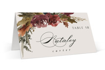 This is a orange wedding place card by Kate Ahn called poetique with standard printing on signature in placecard.