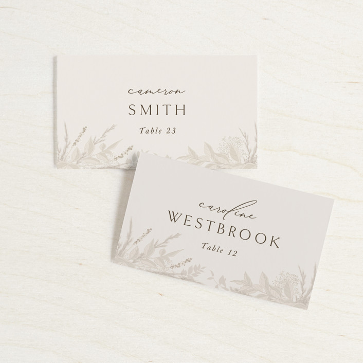 """""""Winter White Botanicals"""" - Bohemian Wedding Place Cards in Slate by Erin Deegan."""