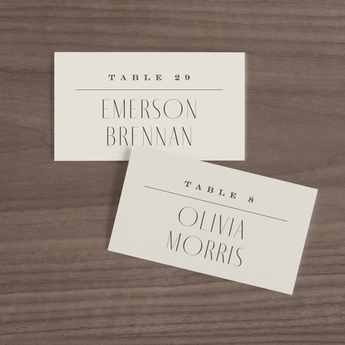 """""""Moderne"""" - Wedding Place Cards in Graphite by Everett Paper Goods."""