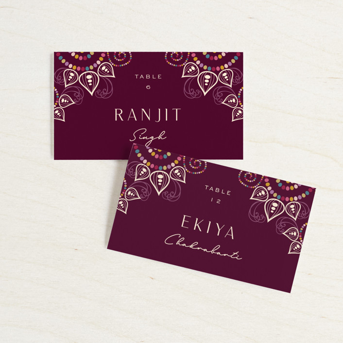 """""""Henna"""" - Wedding Place Cards in Mixed Berry by fatfatin."""
