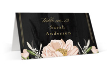This is a black wedding place card by Susan Moyal called Forever with standard printing on signature in placecard.