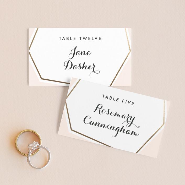 """Bichon"" - Modern Wedding Place Cards in Blush by chocomocacino."