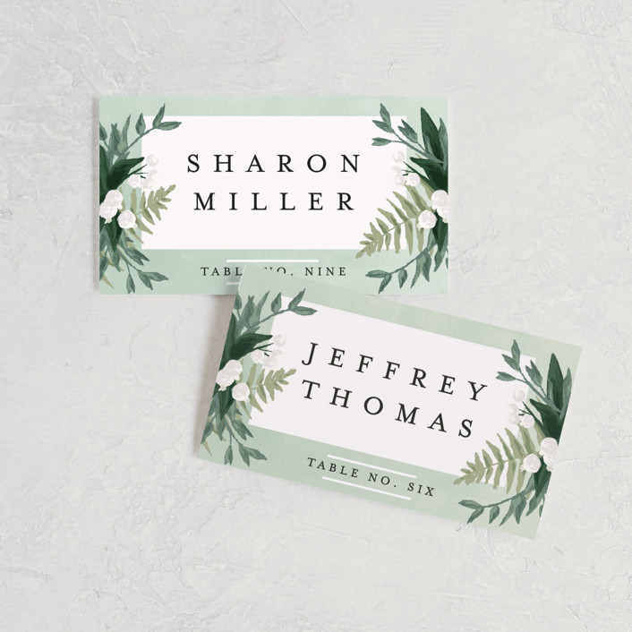 """Botanical Name Plate"" - Wedding Place Cards in Sage by Shiny Penny Studio."