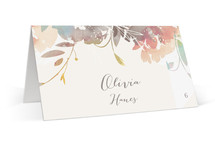 This is a colorful wedding place card by Lori Wemple called Garden with standard printing on signature in placecard.