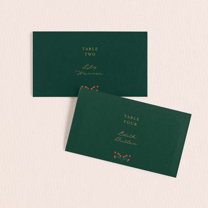 """""""Holiday Wedding"""" - Wedding Place Cards in Pine by Nazia Hyder."""