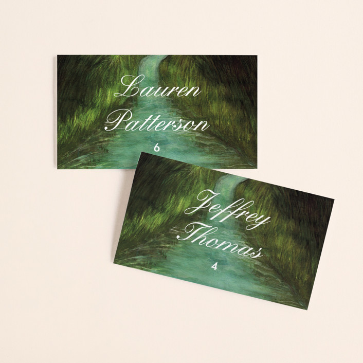 """Adventure Begins"" - Rustic Wedding Place Cards in Forest by Elly."