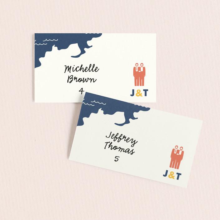 """""""Two Grooms Destination"""" - Wedding Place Cards in Denim by leslie hamer."""