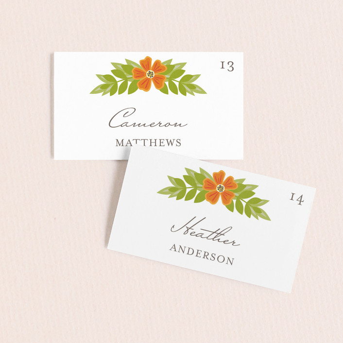 """""""Royal Monogram"""" - Whimsical & Funny Wedding Place Cards in Tangerine by Griffinbell Paper Co.."""