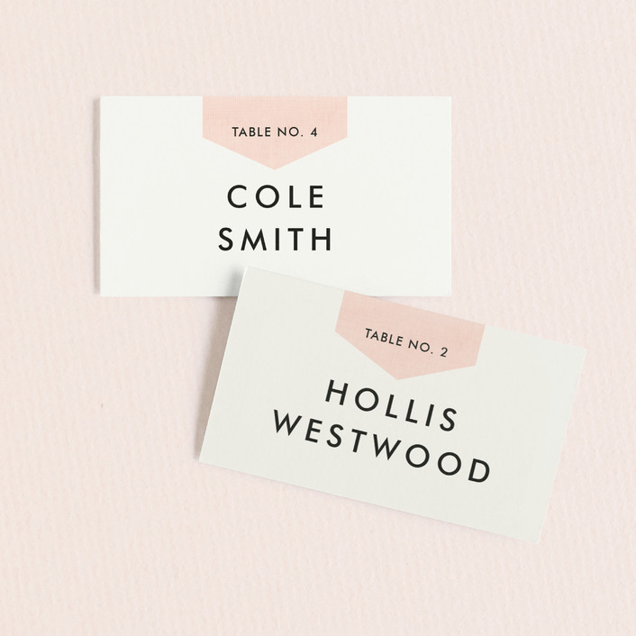 """Linen Stitch"" - Preppy Wedding Place Cards in Peony by Stacey Meacham."