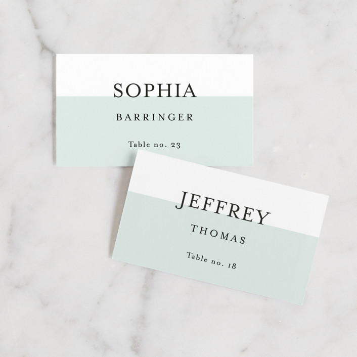 """So Fresh"" - Preppy, Modern Wedding Place Cards in Mint by Stacey Meacham."