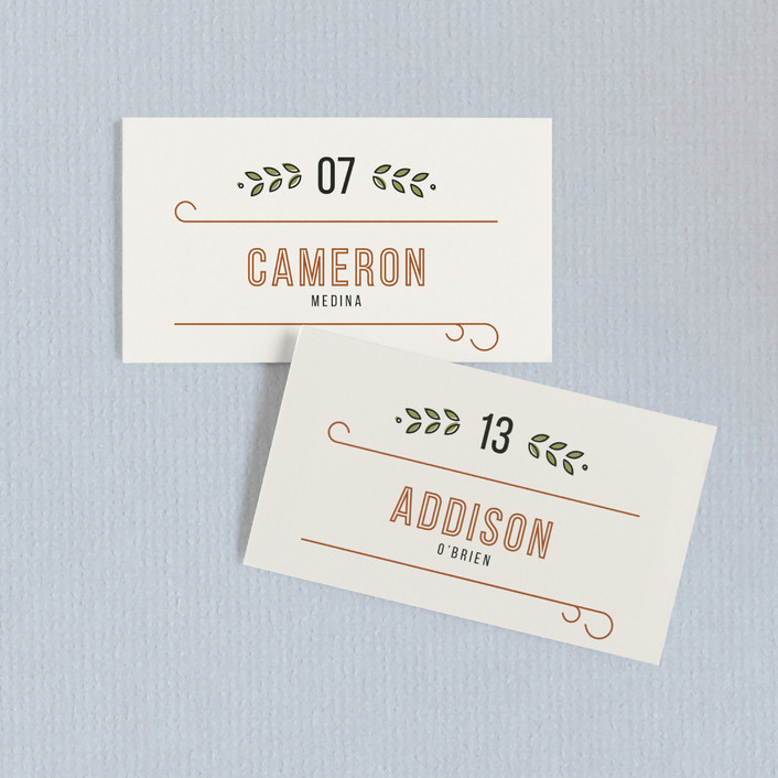 """The Union"" - Rustic Wedding Place Cards in Sand by Dana Beckwith."
