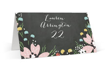 This is a colorful wedding place card by Kristie Kern called Wildflower Bouquet with standard printing on signature in placecard.