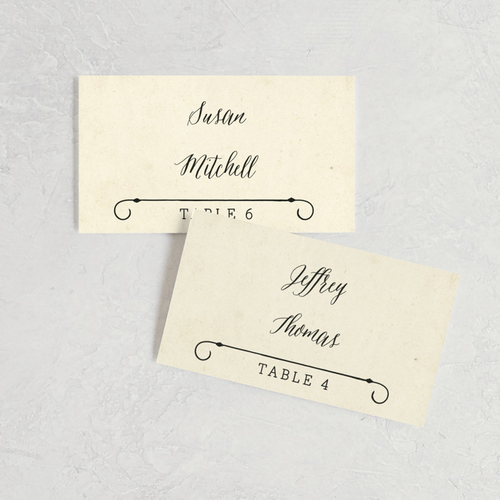 """Inked"" - Hand Drawn, Bold typographic Wedding Place Cards in Parchment by GeekInk Design."