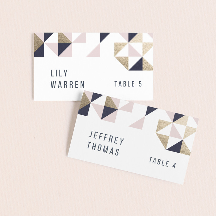 """""""Lovely Geo"""" - Wedding Place Cards in Midnight by Ana Sharpe."""