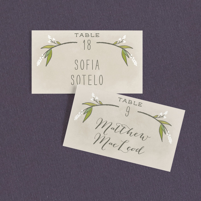 """Rustic Love"" - Rustic Wedding Place Cards in Parchment by GeekInk Design."