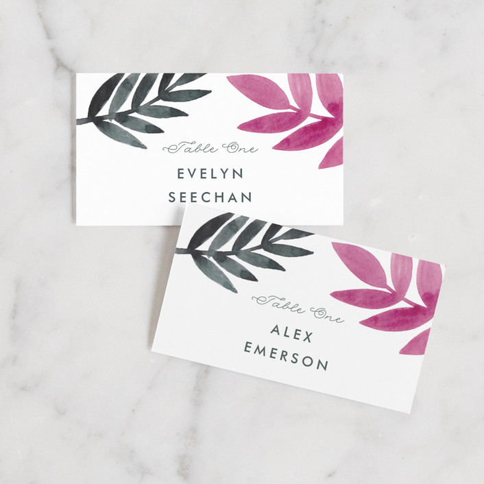 """Bright Leaves"" - Wedding Place Cards in Fuchsia by Katharine Watson."