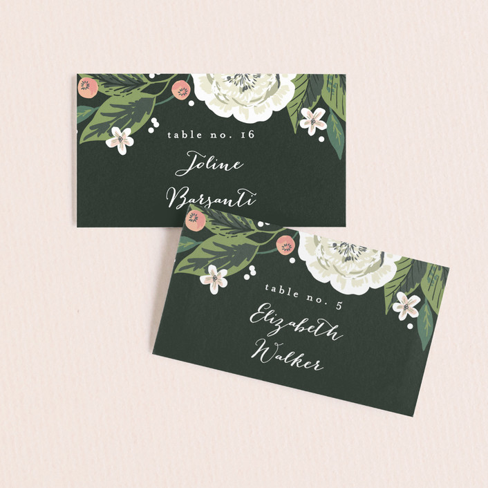 """Climbing Rose"" - Wedding Place Cards in Leaf by Alethea and Ruth."