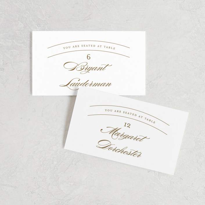 """""""divine"""" - Wedding Place Cards in Gilded Gold by Jennifer Postorino."""