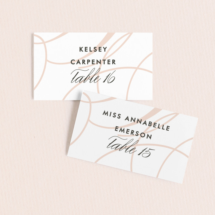 """Twirl Monogram A"" - Modern Wedding Place Cards in Blush by Ariel Rutland."