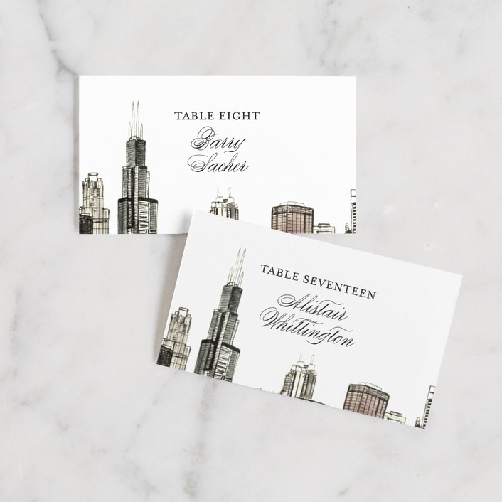 """""""Windy City"""" - Wedding Place Cards in Antique by Ashley Turner."""