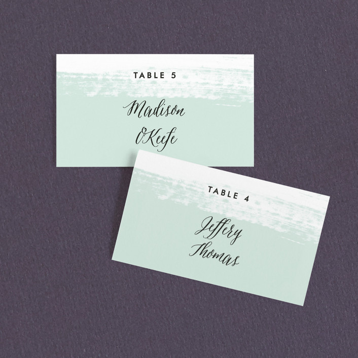 """""""Museum quality"""" - Wedding Place Cards in Teal by Jennifer Wick."""
