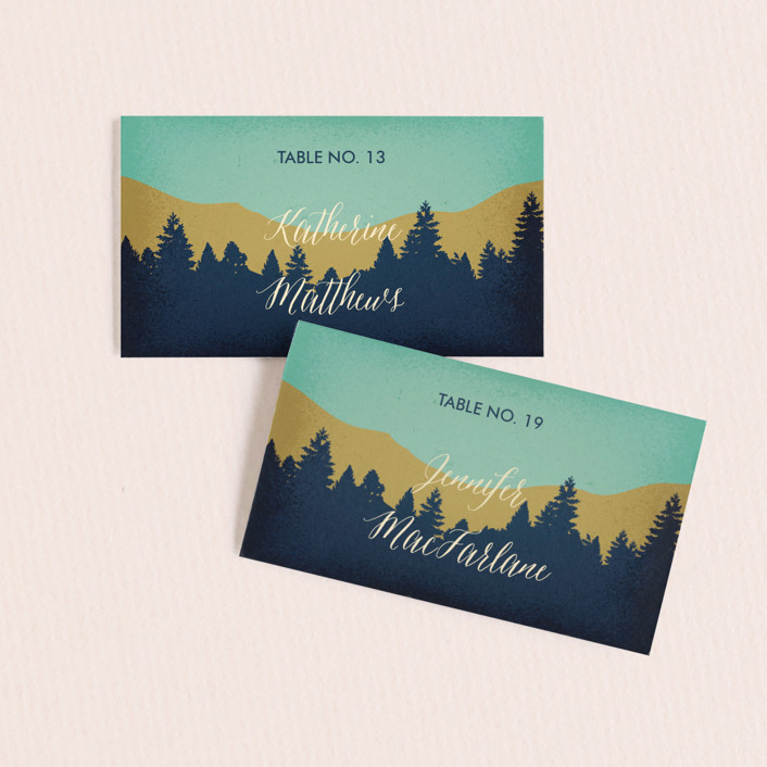 """""""Mountain View"""" - Wedding Place Cards in Forest by Coco and Ellie."""