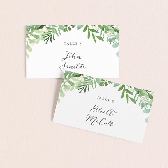 """Leafy ampersand"" - Wedding Place Cards in Mint Leaf by Jennifer Wick."