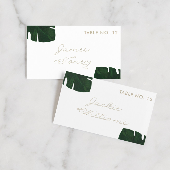 """Palm"" - Wedding Place Cards in Classic Palm by Kaydi Bishop."